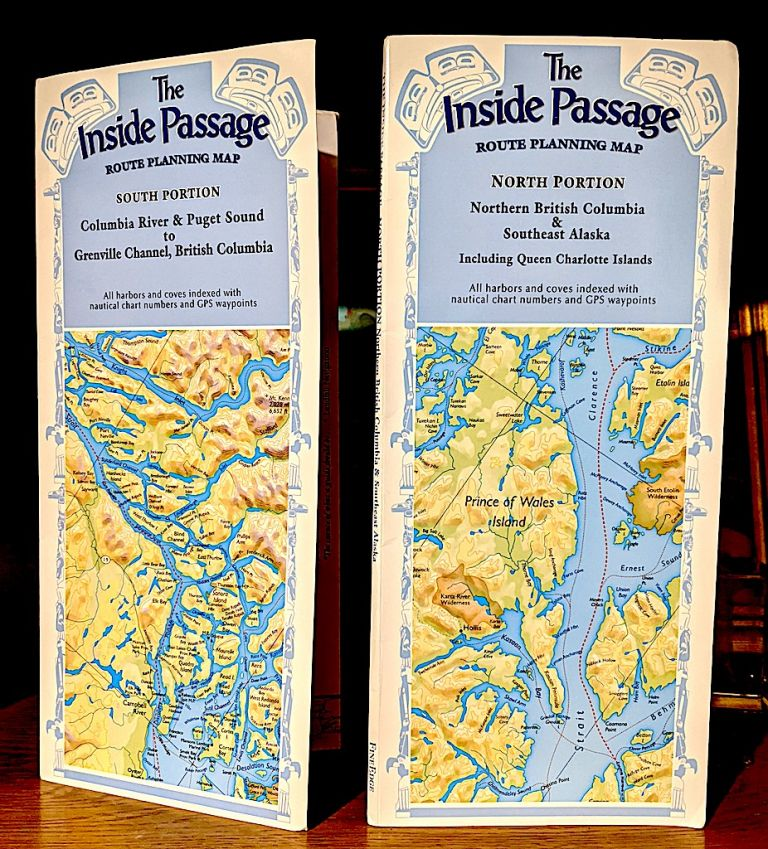 [Two Maps, One Price] -- The Inside Passage Route Planning. Map. North Portion Northern British Columbia & Southeast Alaska Including Queen Charlotte Islands. + The Inside Passage Route Planning Map. South Portion Columbia River & Puget Sound to Grenville Channel, British Columbia. Don Douglas, Reanne Hemingway Douglas.