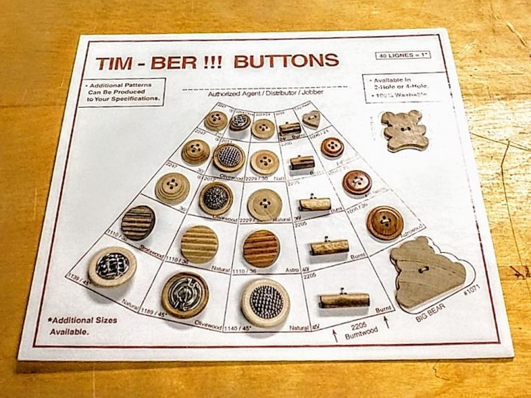 Salesman Sample Card with 26 Wooden Buttons. Timber Buttons.