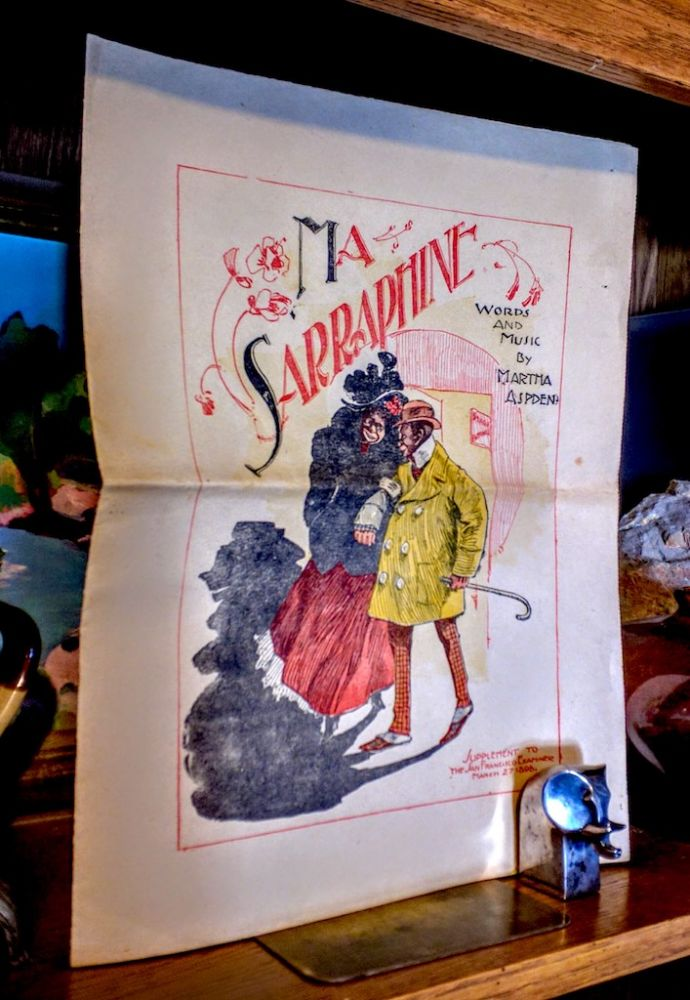 Ma Sarraphine [ Sheet Music ]. Exaggerated ethnic stereotype cover illustration of a well dressed African American couple leaving the theatre. Martha Aspden, words and.