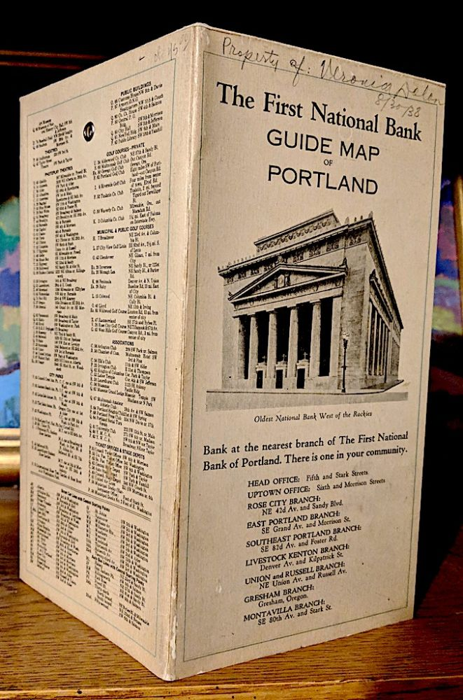First National Bank Guide Map of Portland. Fred M. Bain.