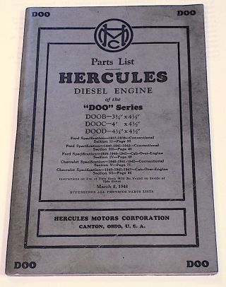 Parts List Hercules [Ford] Diesel Engine of the DOO Series: DOOB, DOOC, DOOD. Hercules Motors Corporation.
