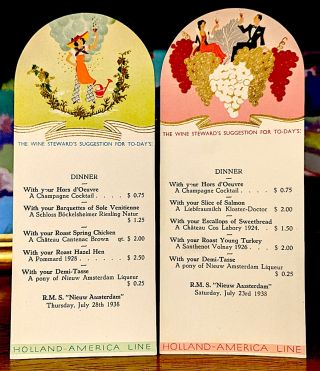 The Wine Stewards Suggestion For Today's Dinner. Saturday, July 23rd, 1938. -- Saturday, July...